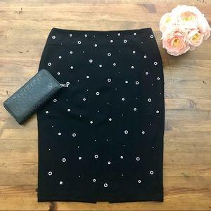 Carmen Studded Black Pencil Skirt Stretch NWT Sz 8